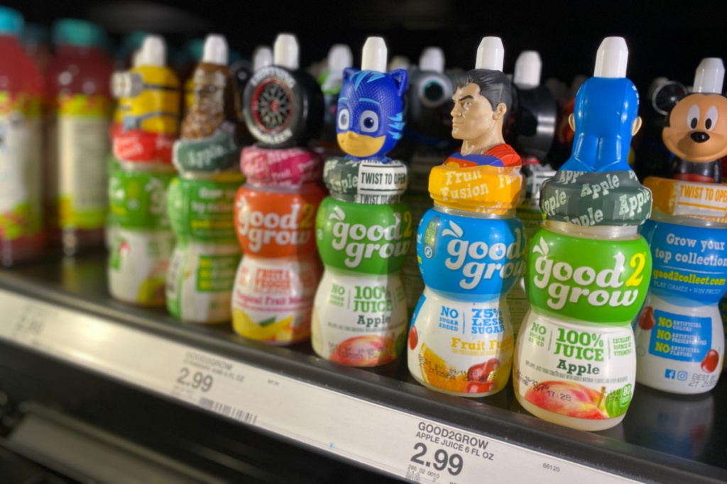 good2grow juice singles on shelf at target many character tops
