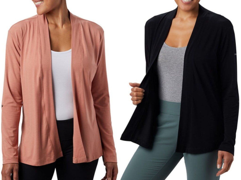 columbia womens essentials cardigan pink and black