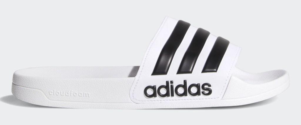 adidas cloudfoam slides white