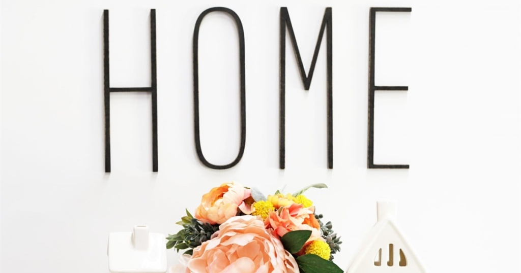 tall skinny farmhouse letters spelling HOME