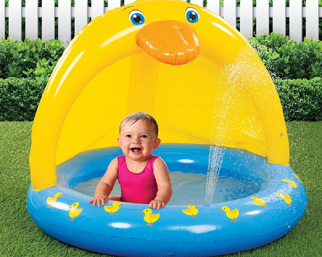 etna inflatable duck baby pool with baby