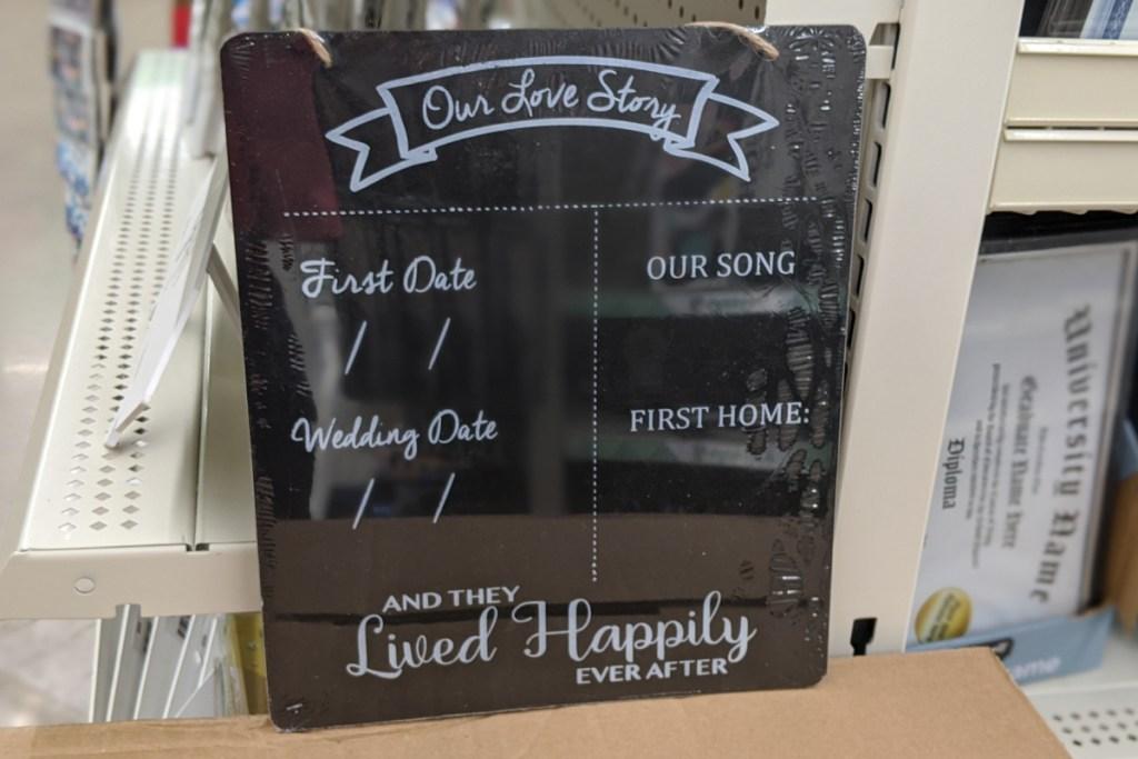 wedding chalkboard sign at dollar tree