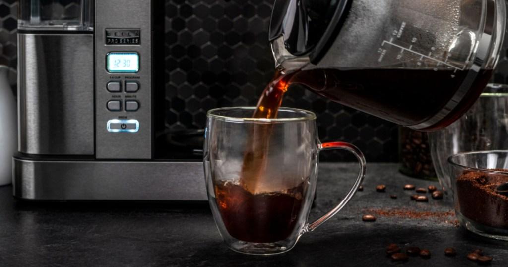 bella pro series coffee maker pouring coffee