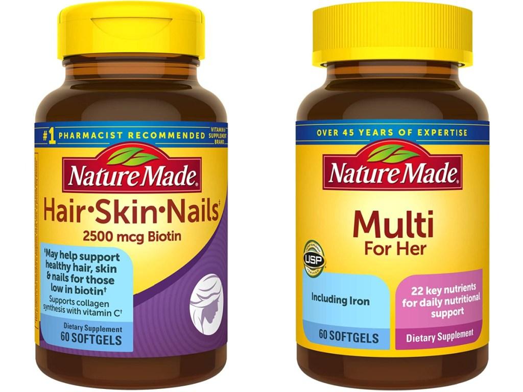 nature made vitamins hair, skin, nails and womens multi