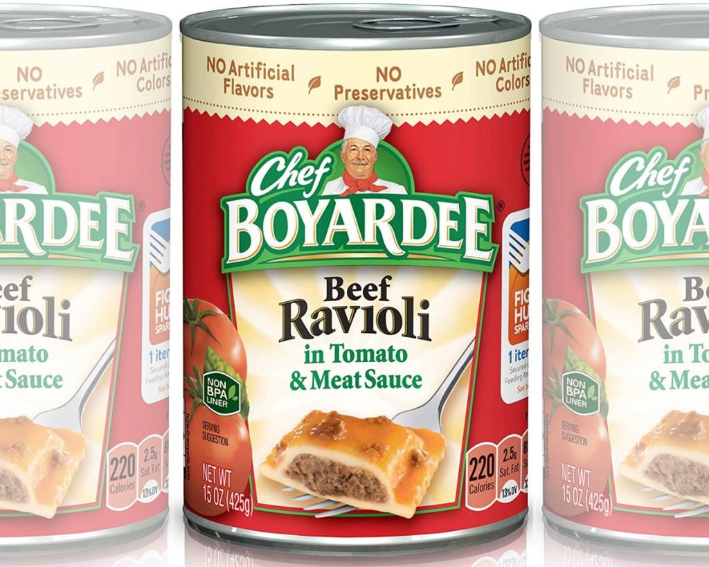 chef boyardee three cans side by side