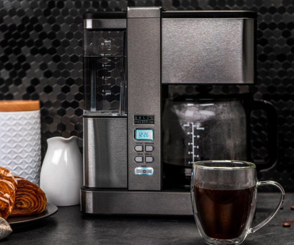 bella pro series coffee maker with coffee cup in front