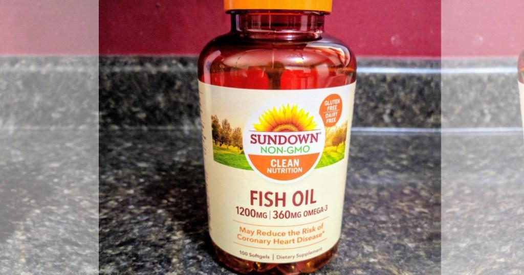 sundown fish oil on countertop