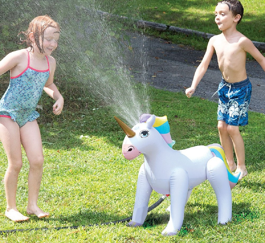 etna inflatable unicorn with kids playing