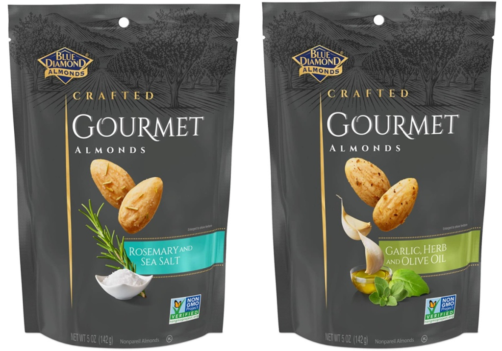 2 packages of blue diamond gourmet almonds