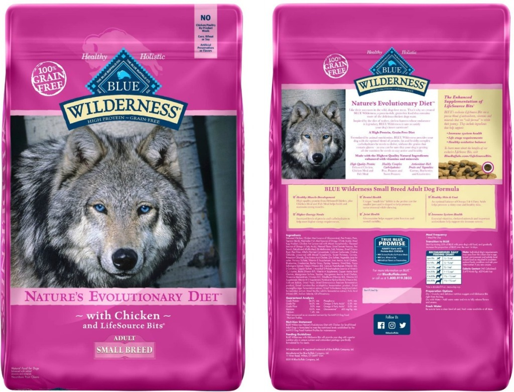 Front and back view of a bag of dog food