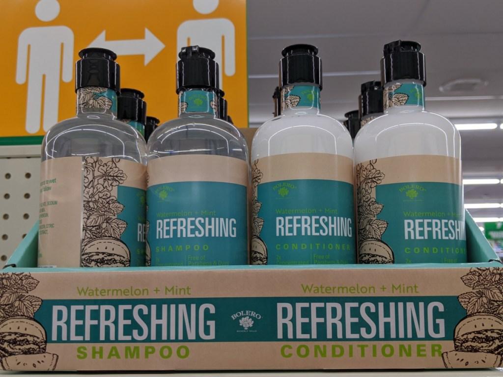 bolero watermelon and mint shampoo and conditioner bottles on store shelf
