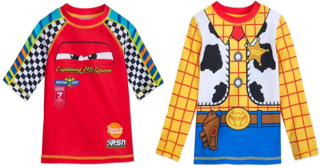 disney cars or toy story woody themed rash guards