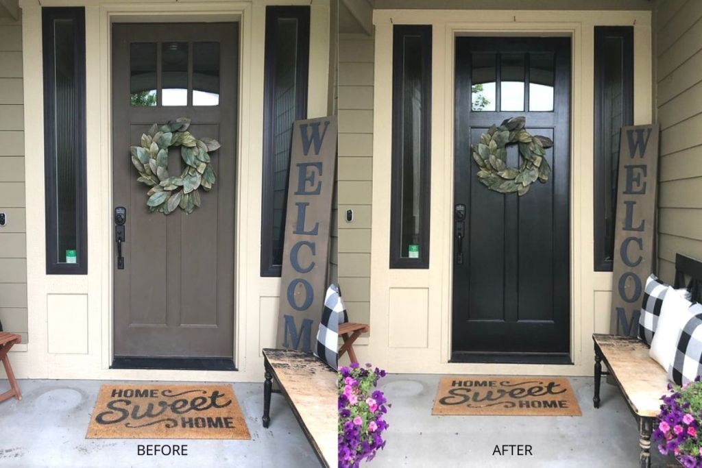 A front door before and after painting it black
