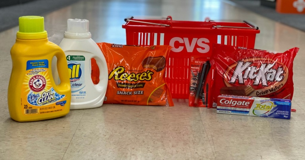 laundry detergent, candy and toothpaste by CVS basket