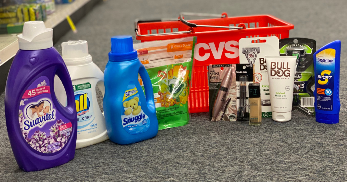 multiple products including laundry detergent, make up, and moreon cvs floor with cvs basket