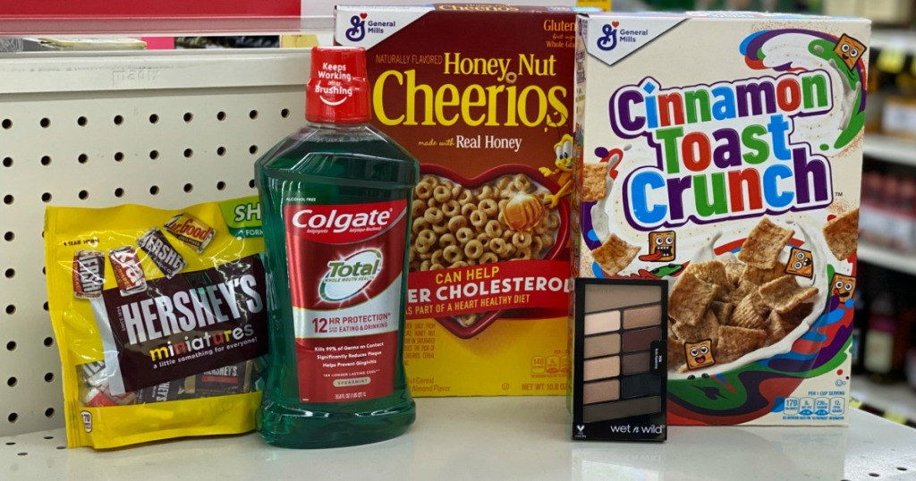 grouping of groceries and personal care items