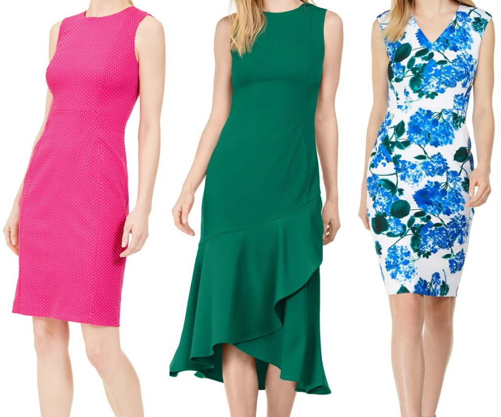 woman in pink dress, woman in green dress, and woman in white and blue floral dress