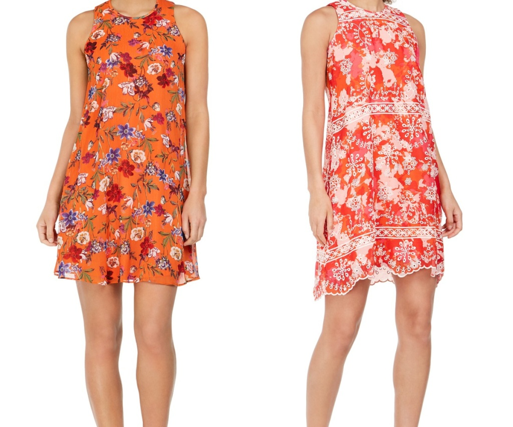 two women in orange and pink floral dresses