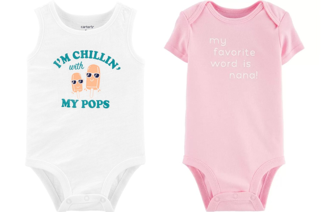 two Carter's graphic bodysuits in white and pink