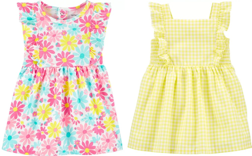 two Carter's baby girl dresses in pink floral print and yellow gingham print