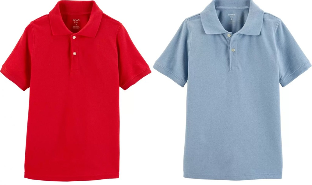 two Carter's boys uniform polos in red and light blue