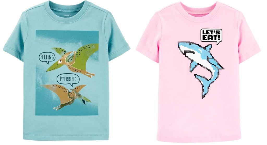 two Carter's toddler boys graphic tees in blue with dinosaurs and pink with a shark