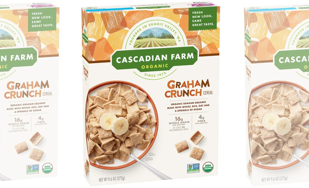 three boxes of Cascadian Farms Graham Crunch Cereal