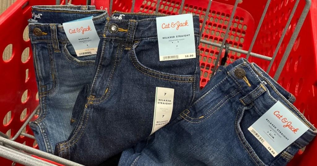 Cat & Jack Kids Jeans in Target shopping cart
