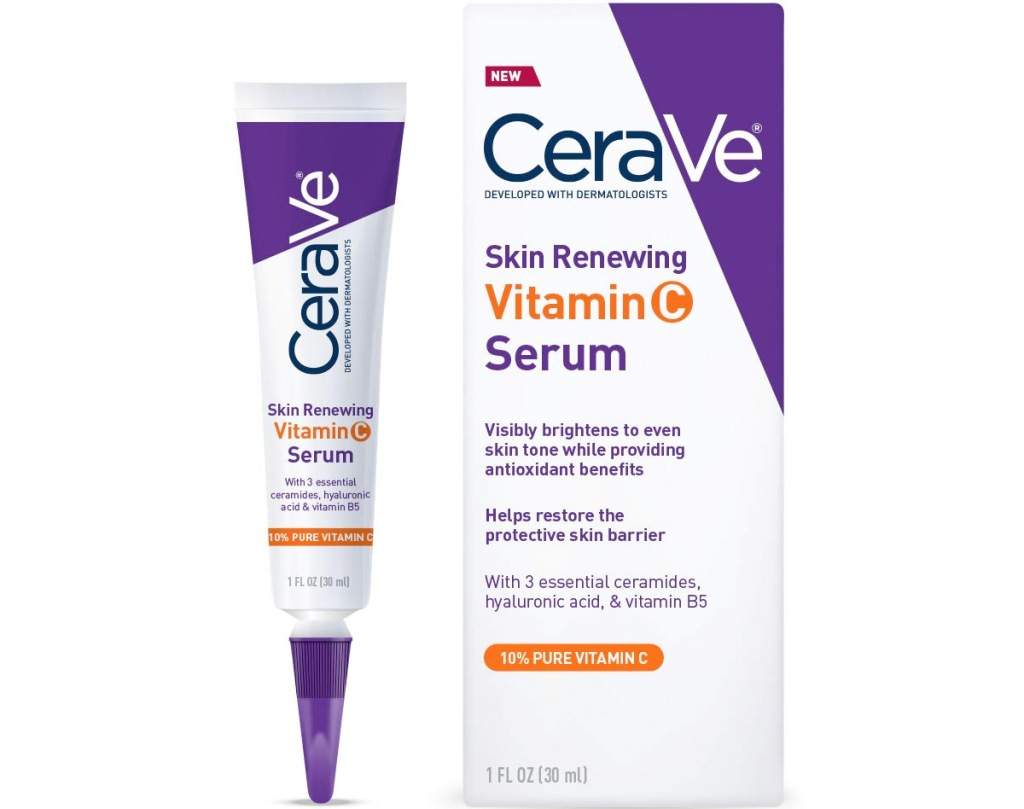 purple and white colored box and tube of CeraVe vitamin c facial serum
