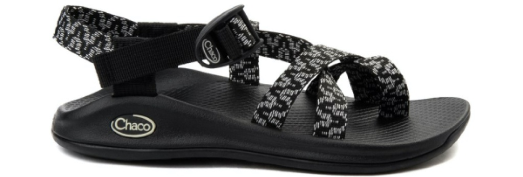 women's black patterned sport slide sandals