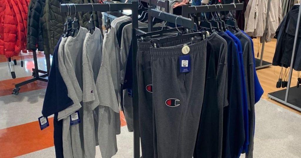 rackof pants and t-shirts at store