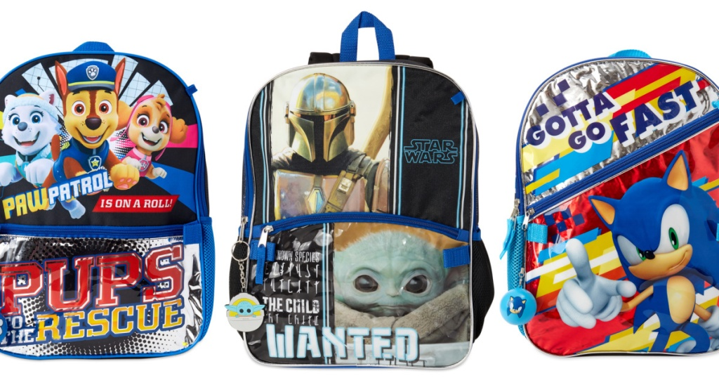 three stock images of kids backpacks