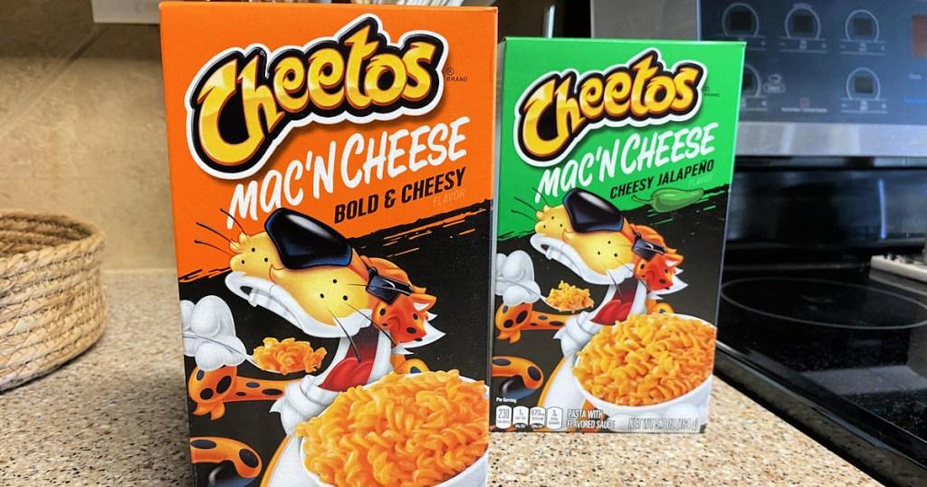 Cheetos Mac 'n Cheese boxes on countertop