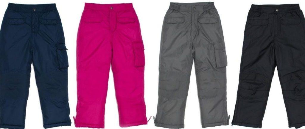 four pairs of cherokee snow pants