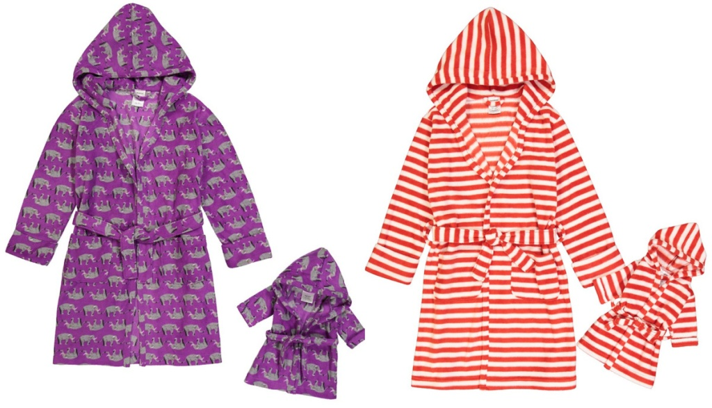 """2 childrens robes with matching 18"""" dolls robes"""