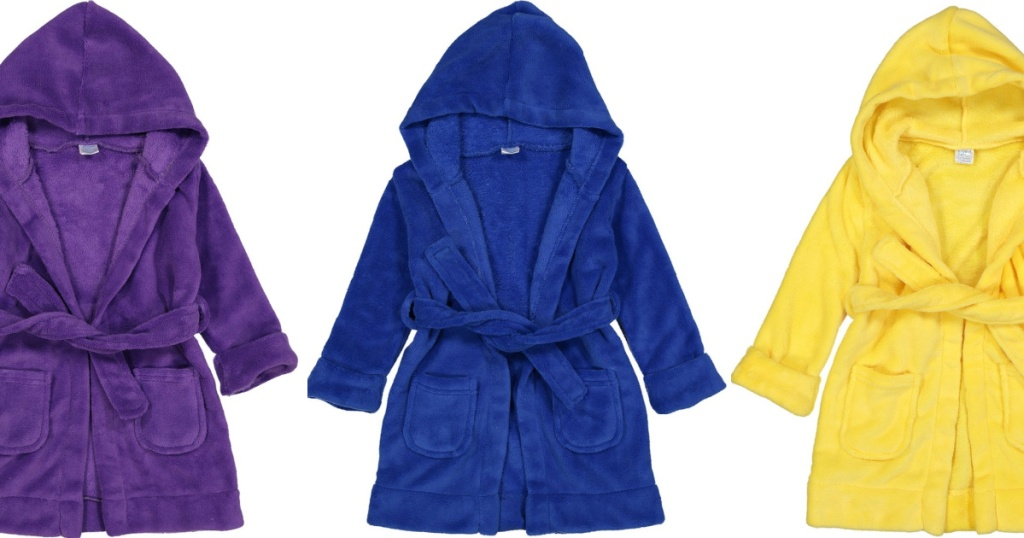 3 colorful children robes lined up next to each other