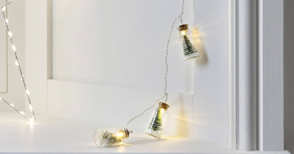 dangling Christmas Tree Glass Jar String Lights with light on