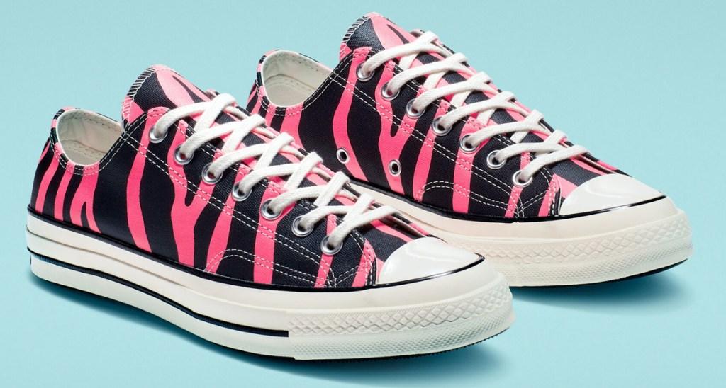 pink and black zebra print converse shoes
