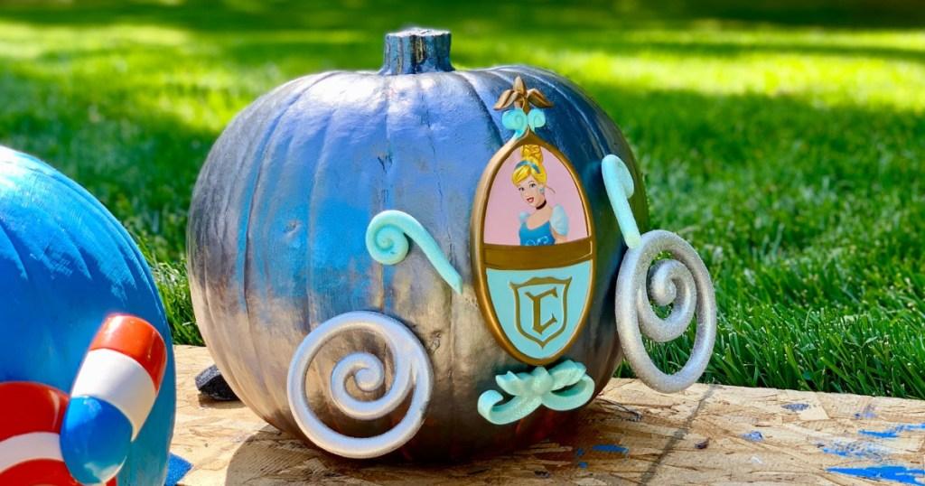 pumpkin decorated like cinderella's coach