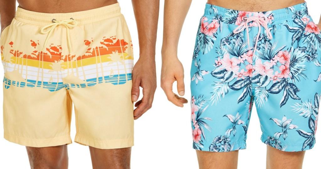 man in yellow design swim trunks and man in light blue floral swim trunks
