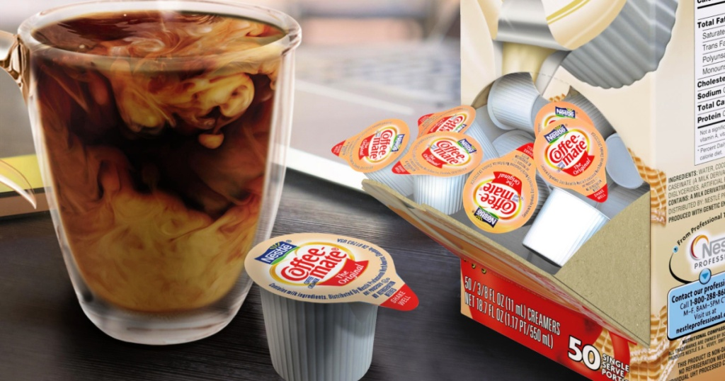 Coffee-Mate Creamer Singles with cup of coffee