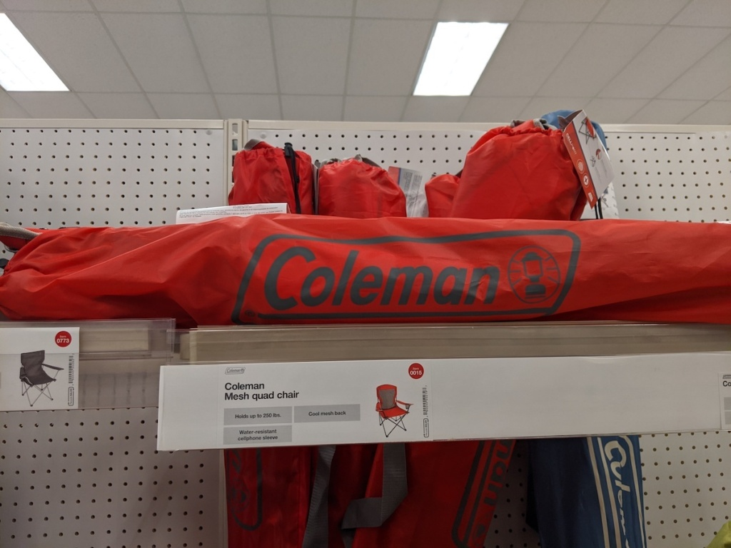 target shelf with Coleman Cool Mesh Quad Chair
