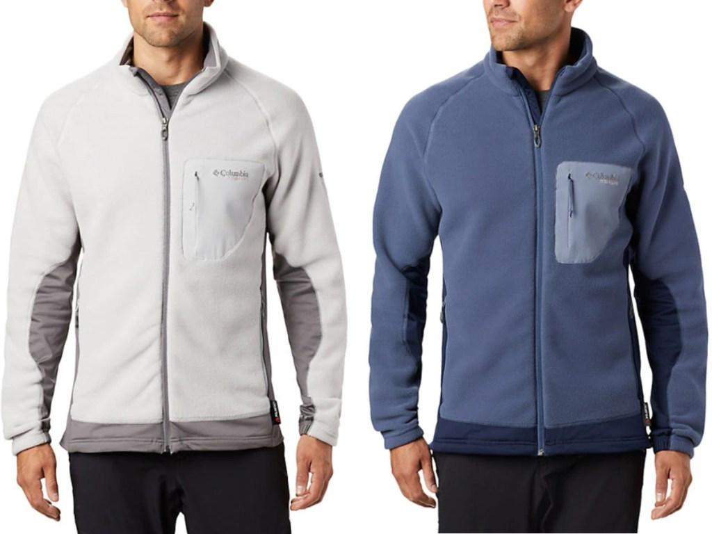 2 men wearing full zip fleece columbia jackets