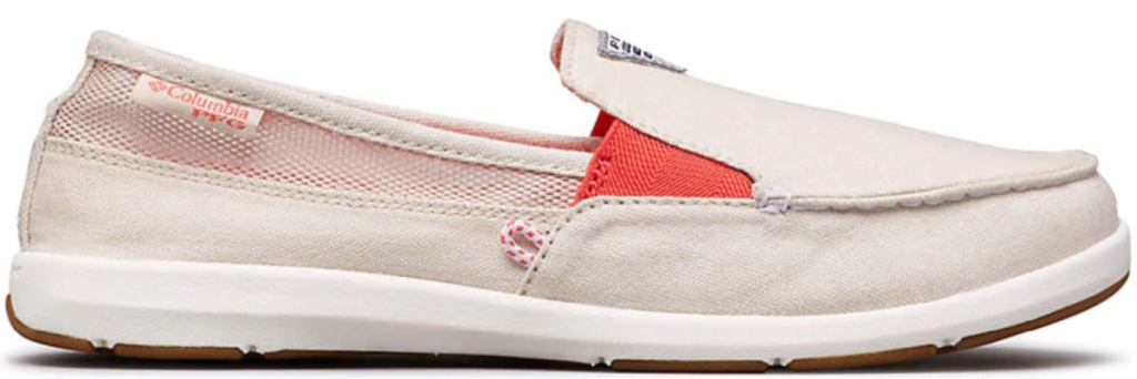 women's slip on tan and coral color shoes