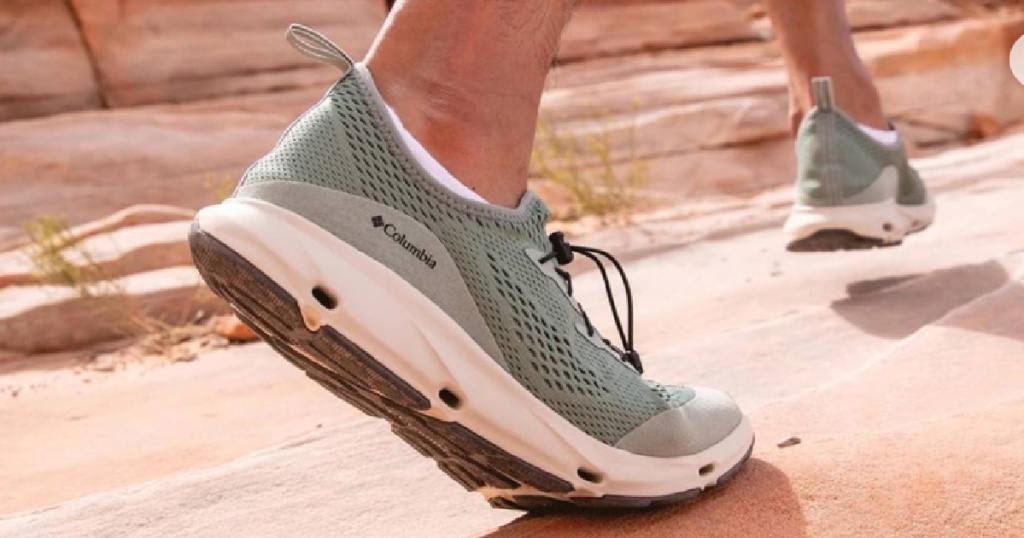 man wearing vented columbia shoes