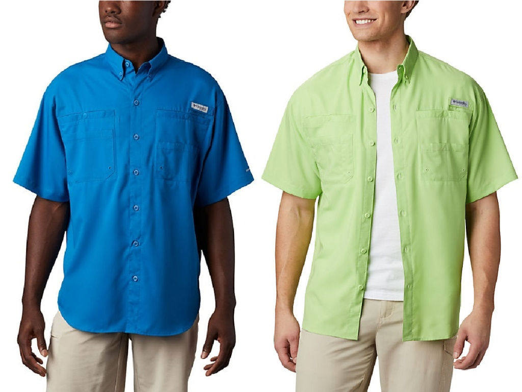 two men wearing blue colored and light green colored Men's PFG Tamiami II Short Sleeve Shirt