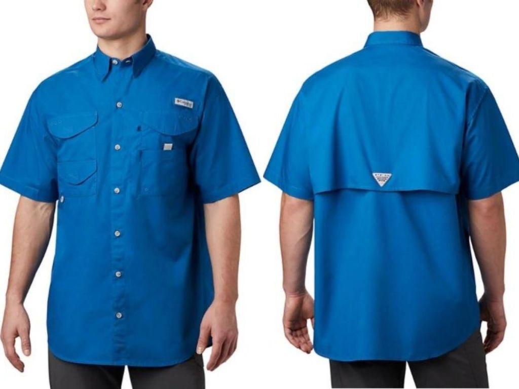 man wearing short sleeved button down shirt