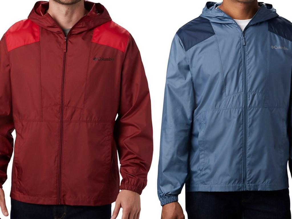 man in red windbreaker jacket and man in blue windbreaker jacket