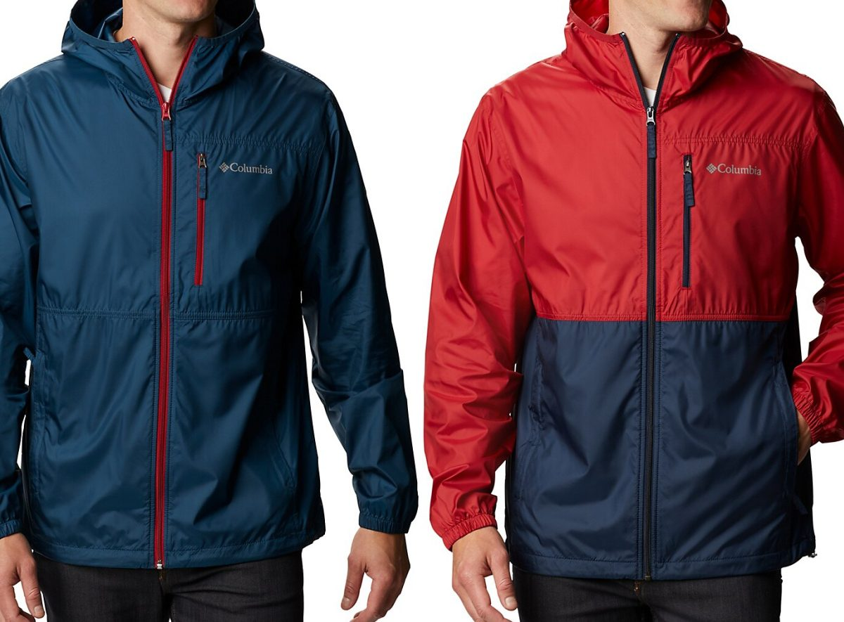 two men in different blue and red rain jackets
