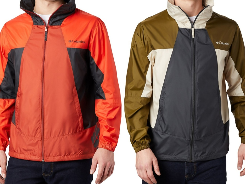 man in orange windbreaker jacket and man in olive and gray windbreaker jacket